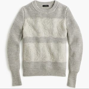 J Crew Collection Wool Lace Striped Crewneck